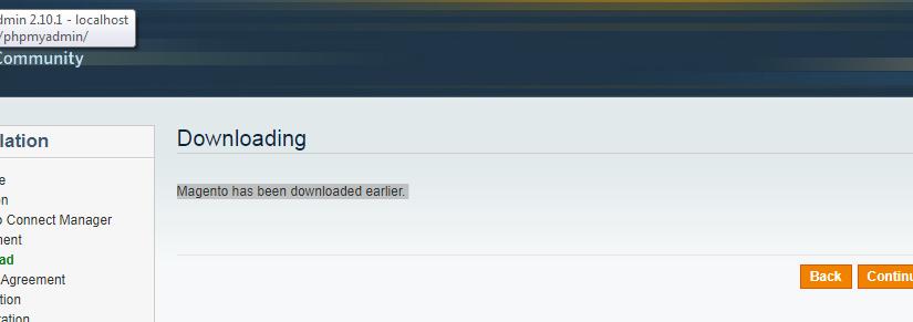 Magento has been downloaded earlier