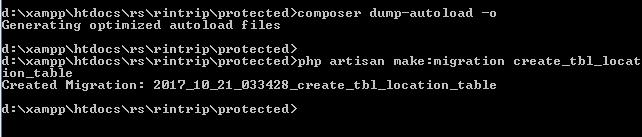 Error Exception in php artisan make migration solution